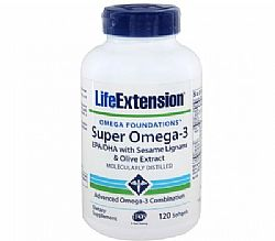 Life Extension Super Omega-3 EPA/DHA with sesame lignans and olive fruit extract, 120 softgels